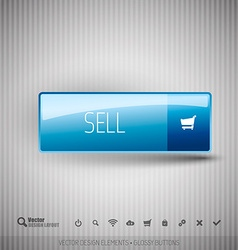 Modern button sell with icons set vector