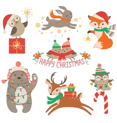 Cute christmas animals vector