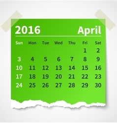Calendar april 2016 colorful torn paper vector