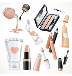 Set of cosmetics objects in beige color lipstick vector