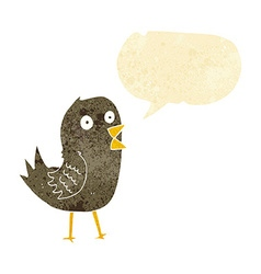 Cartoon tweeting bird with speech bubble vector