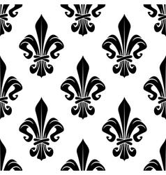 Black and white royal fleur-de-lis pattern vector image