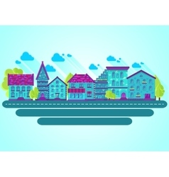 Houses clouds flat blue vector