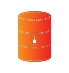 Oil barrel sign orange applique isolated vector