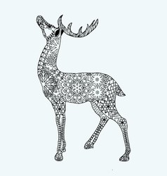 Christmas deer for adult anti stress coloring page vector