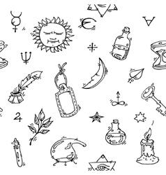 Alchemy symbols pattern vector
