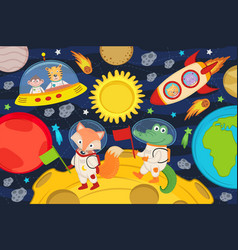 animals on moon in rocket and spacecraft vector image