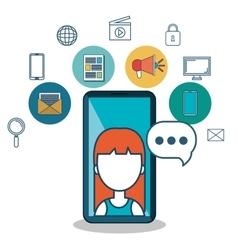 avatar female samrt phone media social vector image
