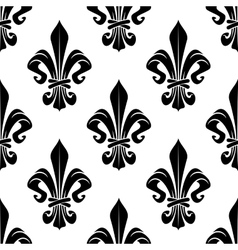 Black and white royal fleur-de-lis pattern vector