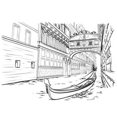 Bridge of sighs venice sketch vector