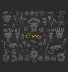 candy set hand drawn doodle vector image vector image