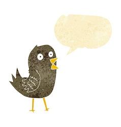 Cartoon tweeting bird with speech bubble vector
