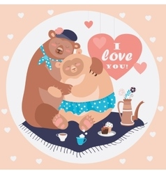 Couple of hugging bears vector