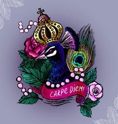 Crowned peacock in pearls vector