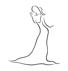Female contour with a hat and a long dress vector