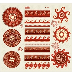 Folk ornaments elements vector image vector image