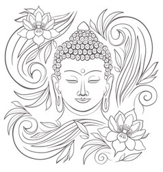 Gautama buddha with closed eyes and floral pattern vector
