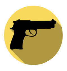 gun sign flat black icon vector image