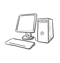 hand draw doodle computer vector image