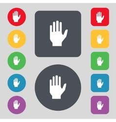 Hand print sign icon Stop symbol Set colour vector image