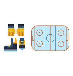 Hockey skates ice boots pair vector