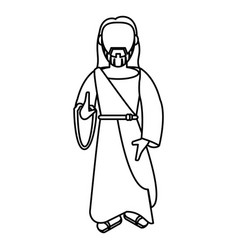 Jesus christ christianity outline vector