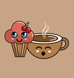 Kawaii cherry cup cake and coffee icon with vector