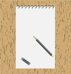 Pencil with an album on the wooden table vector image vector image