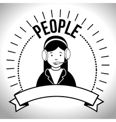 People profile retro design vector image
