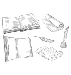Retro books vector image