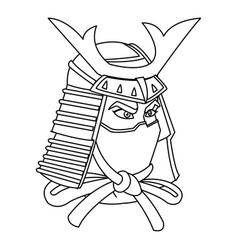 samurai mask helmet warrior design icon vector image