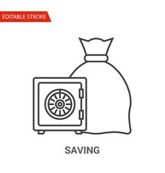 saving icon thin line vector image