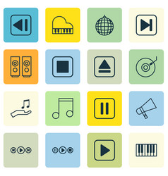 Set of 16 multimedia icons includes note donate vector