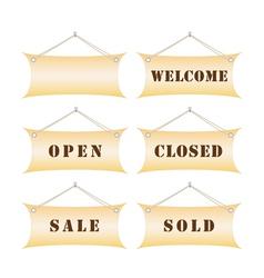set of shop notice boards vector image