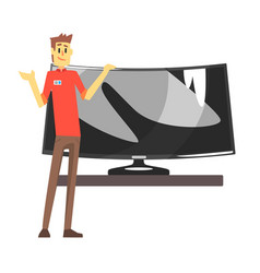 Shop assistant selling wide tv screen department vector