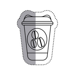 Sticker silhouette glass disposable for hot drinks vector