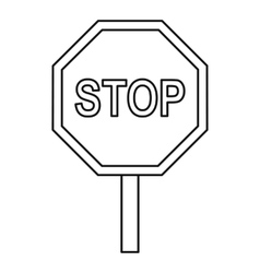 Stop traffic sign icon outline style vector image vector image