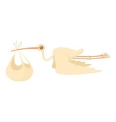 Stork delivering a newborn baby icon cartoon style vector image