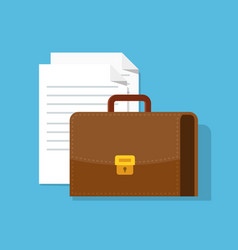 suitcase and paper documents leather briefcase vector image vector image