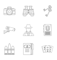 Surveillance icons set outline style vector