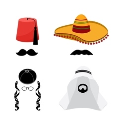 Turkish mexican arabic and jewish hats vector