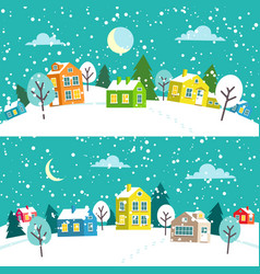 Winter christmas town snowy village landscape vector