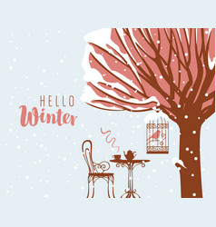 Winter street cafe under tree and bird in cage vector