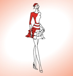 Woman silhouette in red dress and beret vector