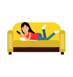young brunette girl in casual clothes lying on her vector image vector image