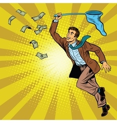 Business man catching money with a butterfly net vector image