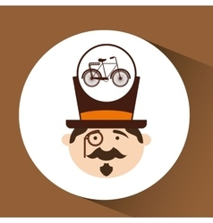 Character male hipster bicycle vintage vector