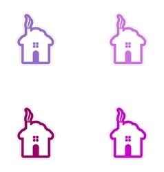 Set of paper stickers on white background house vector