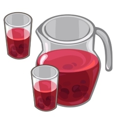 Jug with red berry compote and filled glasses vector