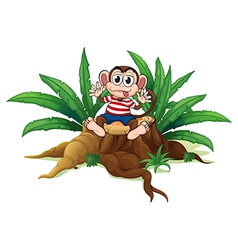 A monkey sitting above the chopped wood vector